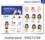 woman with diabetes. diabetic... | Shutterstock .eps vector #598271708