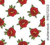 seamless doodle pattern. rose... | Shutterstock .eps vector #598272212