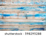 Old Wooden Background With Blue ...