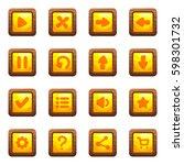 cartoon vector square buttons... | Shutterstock .eps vector #598301732