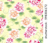 japanese style peony pattern | Shutterstock .eps vector #598306172