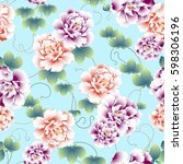 japanese style peony pattern | Shutterstock .eps vector #598306196