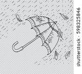 sketch of an umbrella in the... | Shutterstock .eps vector #598325846