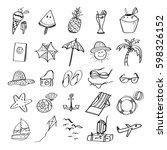 hand drawn set of vector... | Shutterstock .eps vector #598326152