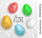 happy easter lettering on gray... | Shutterstock .eps vector #598330316