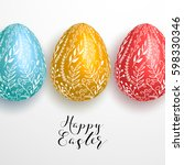 happy easter lettering on gray... | Shutterstock .eps vector #598330346