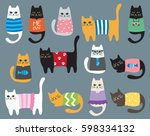 vector illustration of cat in... | Shutterstock .eps vector #598334132