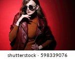 fashion model in sunglasses ... | Shutterstock . vector #598339076