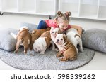Stock photo little girl sitting on the floor and takes care of the puppies bulldog 598339262