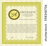 yellow diploma or certificate...   Shutterstock .eps vector #598348706