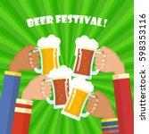 human hands toasting beer.... | Shutterstock .eps vector #598353116