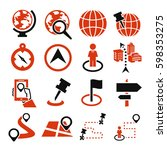 location  place icon set | Shutterstock .eps vector #598353275