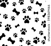 paw print seamless. traces of... | Shutterstock .eps vector #598369466