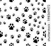 paw print seamless. traces of... | Shutterstock .eps vector #598369472