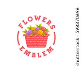 flowers logo. flower delivery... | Shutterstock .eps vector #598370696