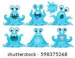 funny octopus emoji monster... | Shutterstock .eps vector #598375268