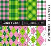 Pink Green Golf Patterns In...