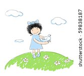 cheerful young girl releasing a ... | Shutterstock .eps vector #59838187
