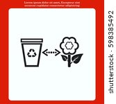 throw away the trash icon ... | Shutterstock .eps vector #598385492