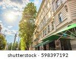 street view in berlin...   Shutterstock . vector #598397192