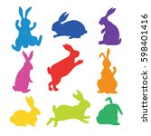 9 silhouettes of bunnies in... | Shutterstock .eps vector #598401416