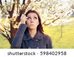 woman with spring allergies... | Shutterstock . vector #598402958