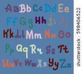 hand drawn alphabet. brush... | Shutterstock .eps vector #598406522