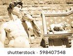 statue of david in piazza della ... | Shutterstock . vector #598407548