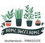home.sweet.home. set of cute... | Shutterstock .eps vector #598425155