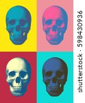 set of pop art engraved skull... | Shutterstock .eps vector #598430936