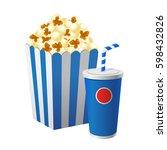 vector stock of popcorn in blue ... | Shutterstock .eps vector #598432826