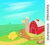farm landscape concept. cartoon ... | Shutterstock . vector #598434056