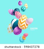 Stock vector composition of d easter eggs holiday background 598437278