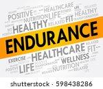 endurance word cloud  fitness ... | Shutterstock .eps vector #598438286