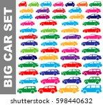 color silhouette car set   Shutterstock .eps vector #598440632