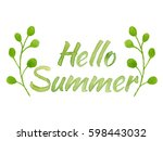 hello summer  lettering with... | Shutterstock . vector #598443032
