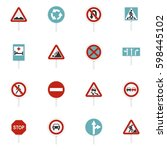 different road signs set icons