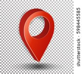 3d map pointer vector. red... | Shutterstock .eps vector #598445585