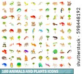 100 animals and plants icons... | Shutterstock . vector #598448192