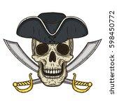 vector single cartoon pirate... | Shutterstock .eps vector #598450772