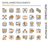 digital marketing elements   ... | Shutterstock .eps vector #598451696