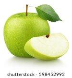 whole ripe green apple fruit... | Shutterstock . vector #598452992