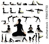 yoga postures of sun moon style | Shutterstock .eps vector #59845750