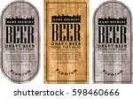 template vector beer label with ... | Shutterstock .eps vector #598460666