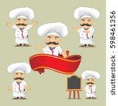vector set of cooks in... | Shutterstock .eps vector #598461356