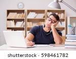 young freelance worked working... | Shutterstock . vector #598461782