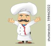 vector chef cook serving food... | Shutterstock .eps vector #598462022