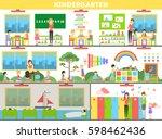 kindergarten interior set.... | Shutterstock .eps vector #598462436