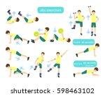 exercises for kids set. workout ... | Shutterstock .eps vector #598463102