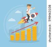 businessman on the rocket...   Shutterstock .eps vector #598463108